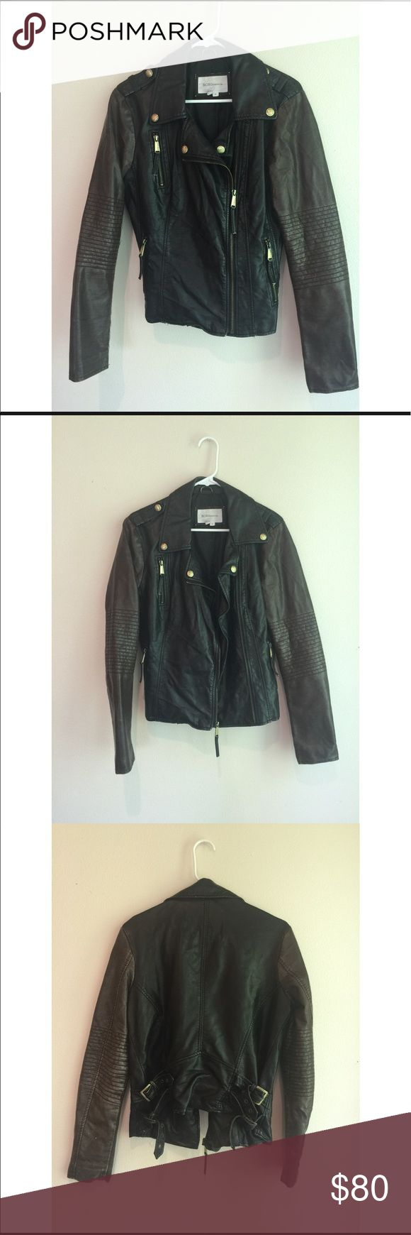 BCBGeneration Black/Brown Leather Jacket - Medium Gently used BCBGeneration leather jacket sized medium. No real signs of wear and tear. BCBGeneration Jackets & Coats