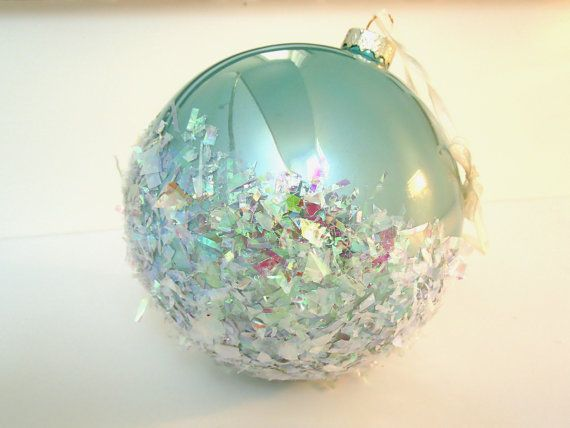 Coastal Christmas Ornament, Beach Christmas -- Oversized Aqua Glass Ball with Iridescent Confetti Snowy Flakes