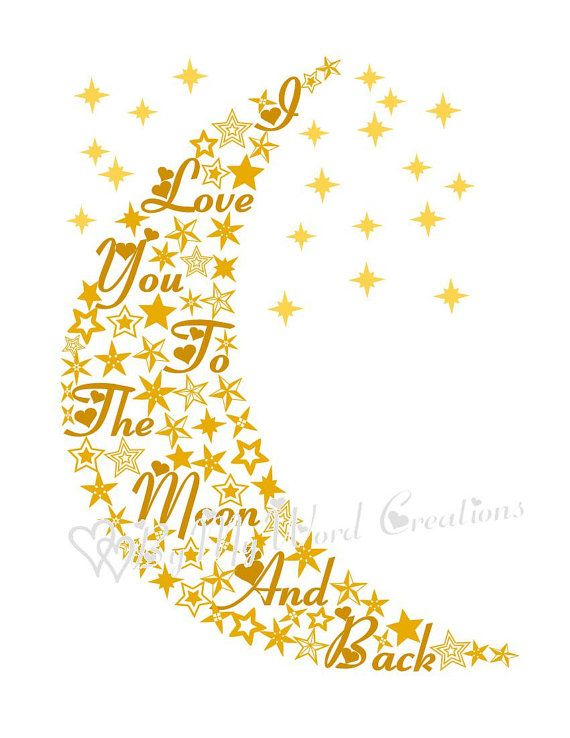 Moon Art I Love You To The Moon and Back by ByMyWordCreations