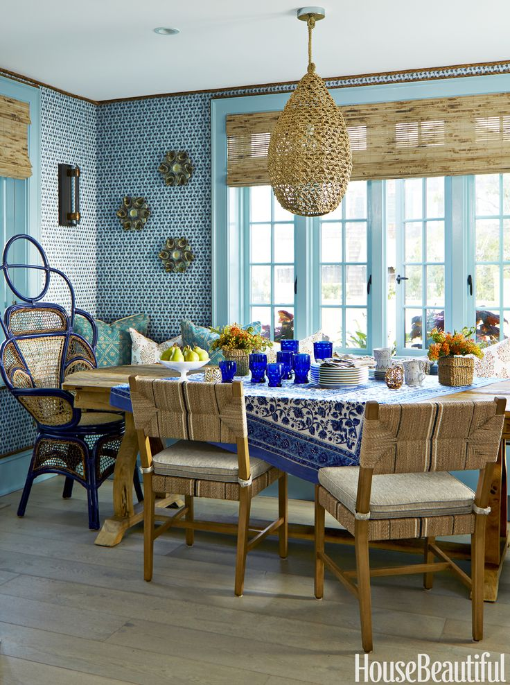 Dining Room Blue With Wall Paper And Plenty Of Natural Textures