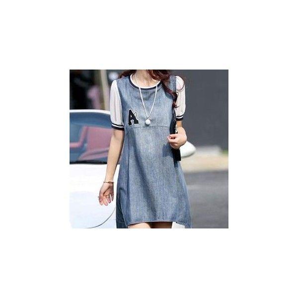 Letter Chiffon Panel Denim Dress (£23) ❤ liked on Polyvore featuring dresses, women, denim dress, blue chiffon dress, blue dress, chiffon dresses and blue denim dress