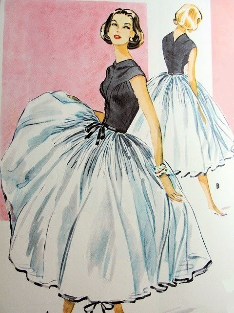1950s DREAMY GALANOS EVENING COCKTAIL DRESS, PETTICOAT PATTERN BREATHTAKING FULL SKIRTED McCALLS 4046