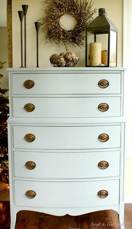 milk paint dresser  custom mix of shutter grey and grain sack with bonding agent added.