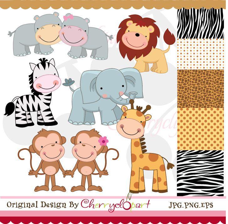 Jungle Cute Animals digital clipart and digital papers set  NO.AN020. $5.50, via…