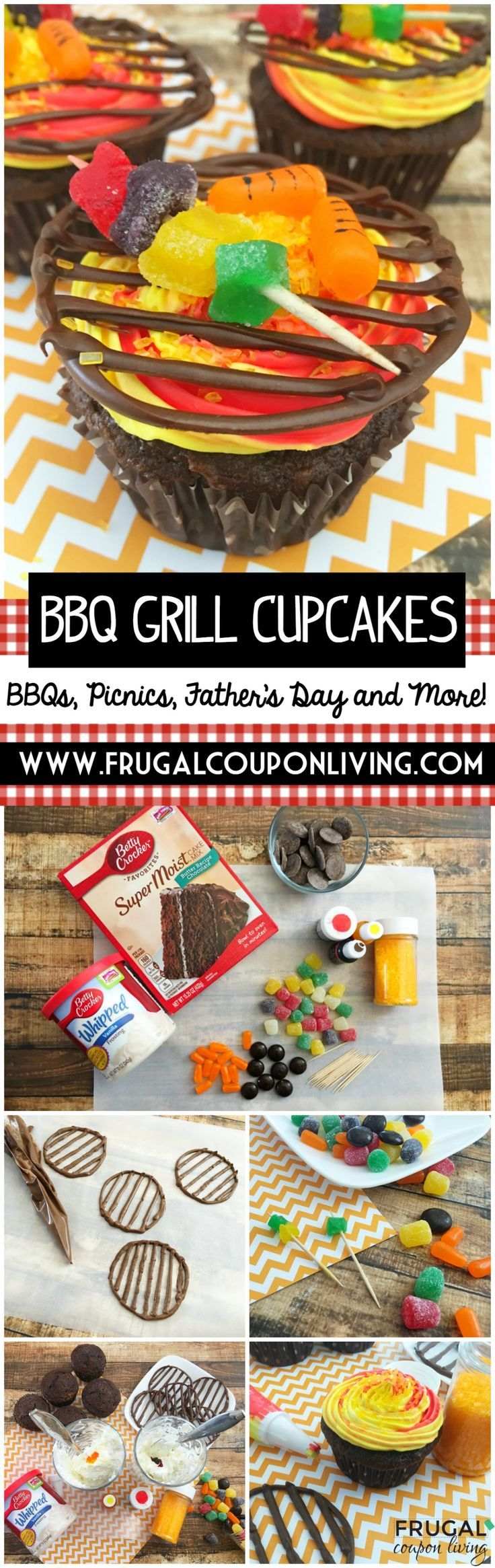 BBQ Grill Cupcakes - Looking for a fun dessert this Father's Day. We love these easy BBQ Grill Cupcakes made with everyone's favorite Betty Crocker Cake Mix and Icing!  Recipe on Frugal Coupon Living.  #bbqrecipes #picnic #picnicdesserts #desserts #cupcakes #fathersday #dessert #cupcakerecipes #summer #bbq #fathersdayideas #fathersdayrecipes #frugalcouponliving