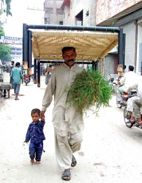 HYDERABAD: A man carrying traditional bed (Charpai).