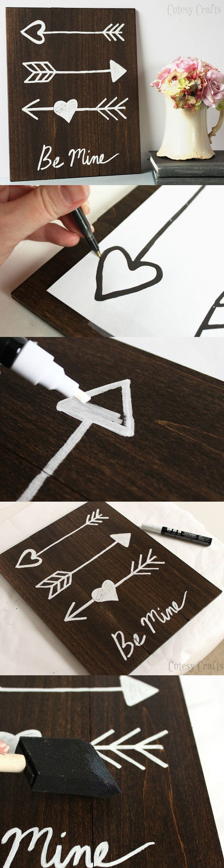 This DIY Valentine's Day arrow art (for adults) is easy for anyone to make - no nails required, and you can grab a free printable to help you. All painting is done with a pen. This is one of those projects you'll want to keep up all year. So cute!