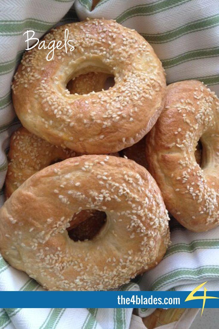 Thermomix Bagels  Ingredients: flour, milk, dried yeast, sugar, salt, sesame seeds.