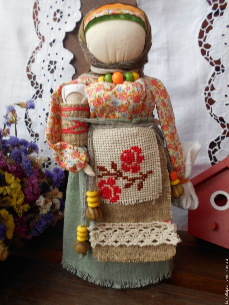 "Купить Кукла народная оберег ""Берегиня дома"" - оливковый, народная кукла, народные традиции"