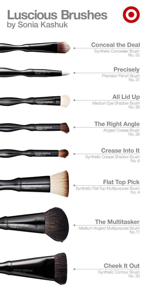 From Sonia Kashuk comes an array of divine definition: a Concealer Brush, Precision Pencil Brush, Eye Shadow Brush, Angled Crease Brush, Crease Shadow Brush, Flat Top Brush and Angled Multipurpose Brush. They're essential tools for your beauty routine—stock up on the makeup brushes you use daily or refresh your entire collection now.