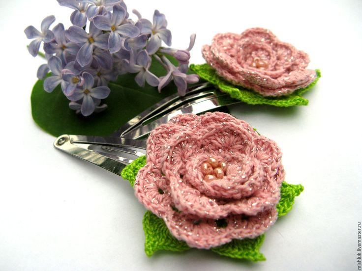 """Купить Заколка """"Розочка"""" - бледно-розовый, украшения для волос, заколка для волос, заколка с цветами"""