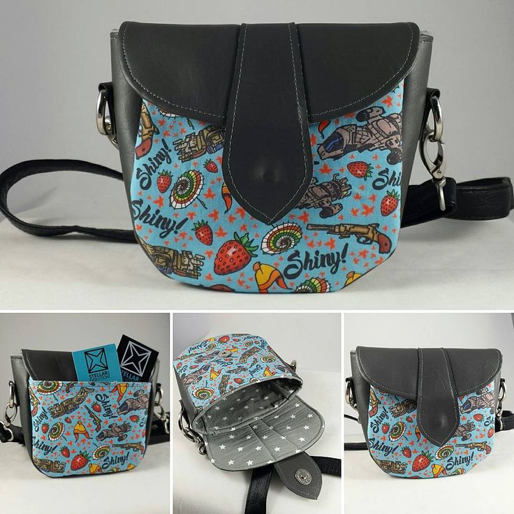 Swoon Dollie sewing pattern-geeked up for a Firefly Fan! Shiny fabric showing things like strawberries, a Jayne hat and Serenity in flight make this perfect little purse a delightful and charming accessory!