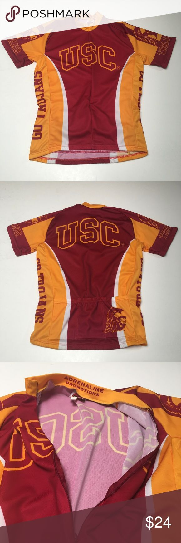 Vintage USC Trojans Bike Jersey Ride Fight On! Awesome vintage jersey Armband elastic dried out so it will be loose on your biceps Ride On! Fight On!  Please check measurements for fit reference  Smoke and pet-free storage Happy to answer any questions Thanks for looking World Jerseys Other