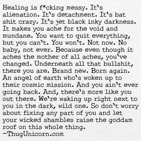 thug unicorn, healing is messy, brand new, born again, awaken to cosmic mission, wild one, dark, raise the roof