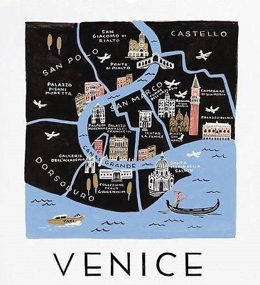 Illustrated art print featuring the beautiful city of Venice, Italy! Extra room around print for easy trimming and framing! Great print to remind you of a trip you took, or a place you'd love to go! M