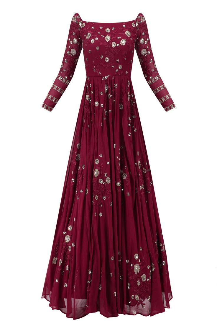 Dark maroon floral work off shoulder anarkali gown available only at Pernia's Pop Up Shop.