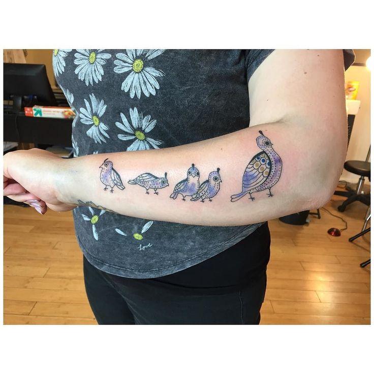 Cutest little quails. #tattoo #tattoos #tattooartist #customtattoo #minneapolis #minnesota #4pointsbodygallery #birds #birdtattoo #quail #quailtattoo #watercolortattoo by jesbaileytattoo