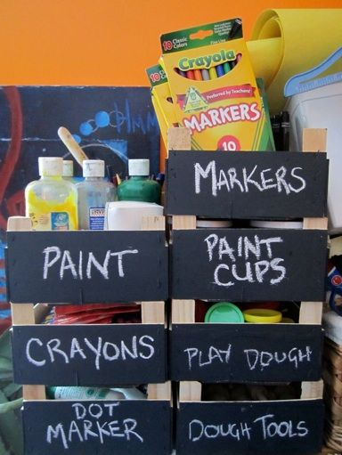 Clementine boxes for creative storage! What a great idea for the play room!
