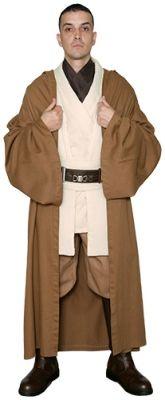 STAR WARS COSTUMES: : Star Wars Obi Wan Kenobi Costume - Tunic with Replica LIGHT BROWN Jedi Robe