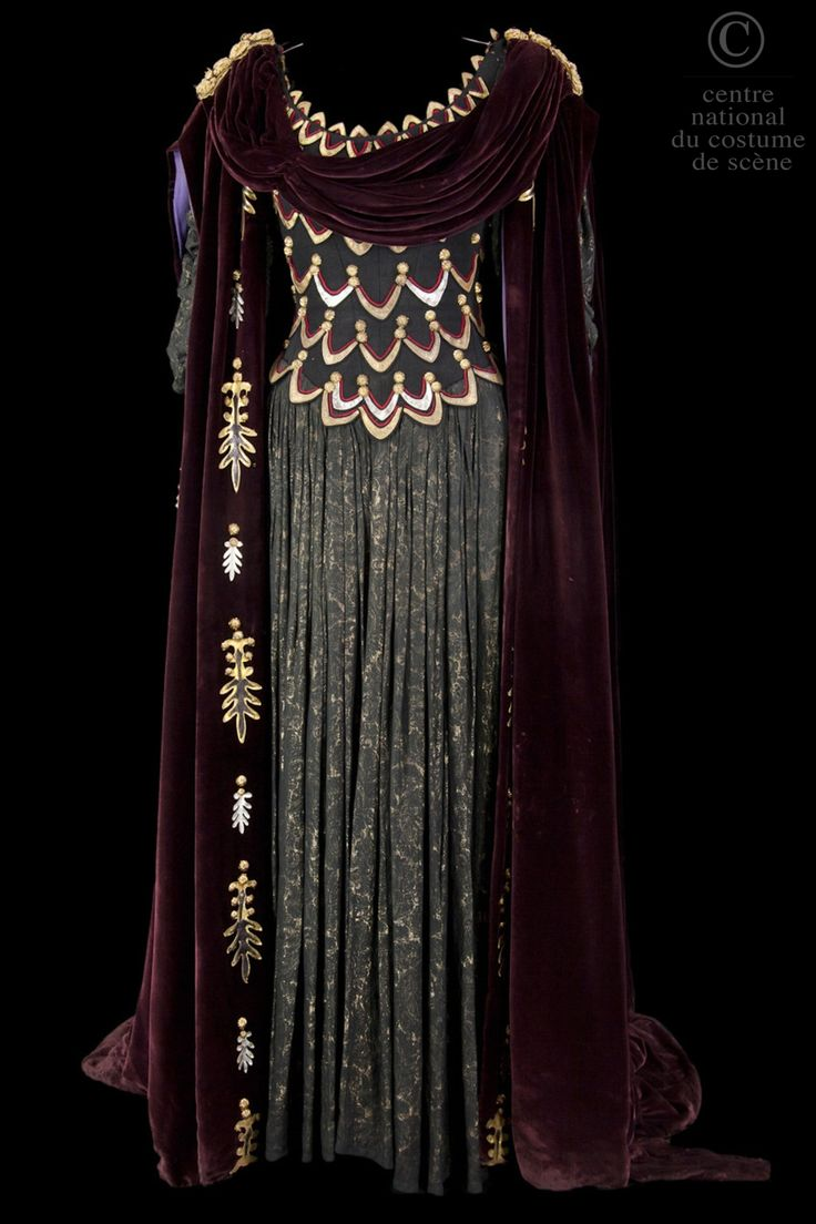 Costume designed by Francine Gaillard-Risler for Annie Ducaux in the 1961 production of Jean Racine's Britannicus. From the Centre National du Costume de Scene via Fripperies and Fobs.