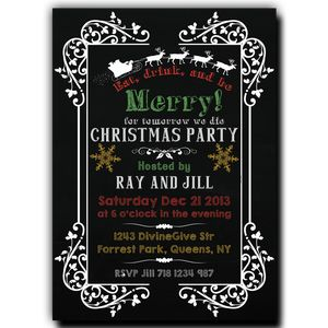 Christmas Party Invitation - Blackboard Eat Drink and be Merry!