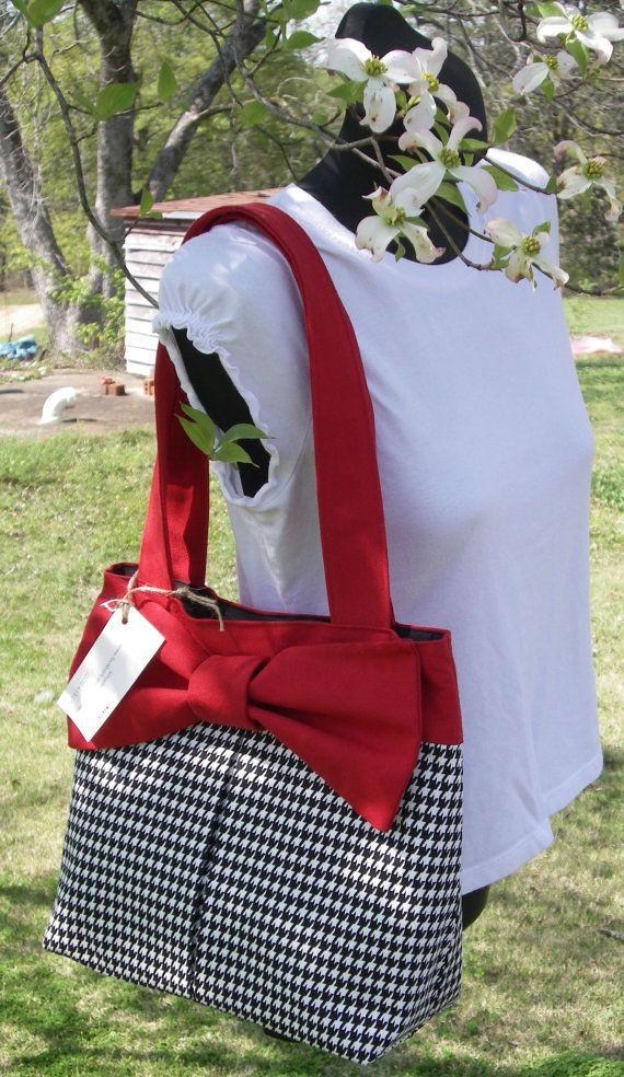 Handmade Handbag Roll Tide Houndstooth by KGDesignsAL on Etsy, $40.00