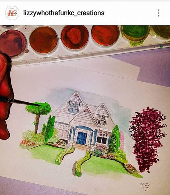 Custom Watercolor House Painting In 2020 Painting How To Make
