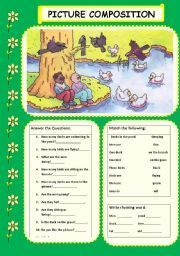 English teaching worksheets: Picture composition