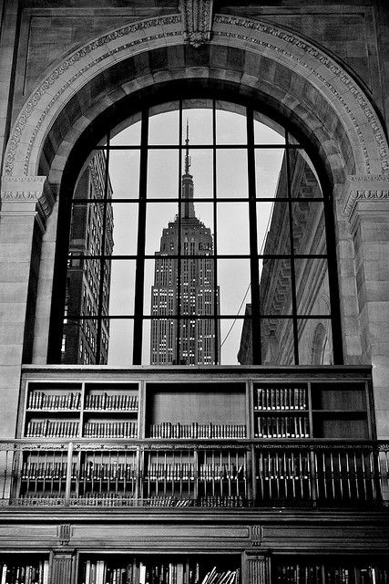 View of New York City from a window of the Public Library