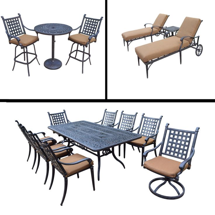 Premier Sunbrella Cushioned Set includes 3 Pc Bar Set, 9 Pc Dining Set with Rectangular Table and 3 Pc Chaise Lounge Set, Beige, Size 3-Piece Sets, Patio Furniture (Aluminum)
