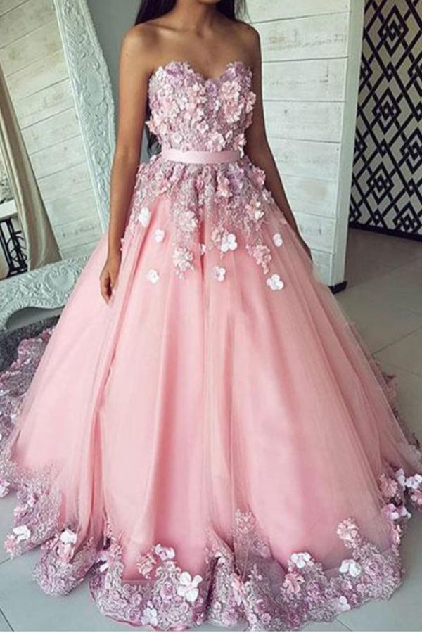 30fe0dc898f85 Pink Puffy Sweetheart Tulle Prom Dress, Long Strapless #PartyDresses,  #BallGownPromGown P327