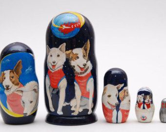 Russian Belka and Strelka dogs:  matryoshka/babushka/russian nesting dolls and other items on Etsy