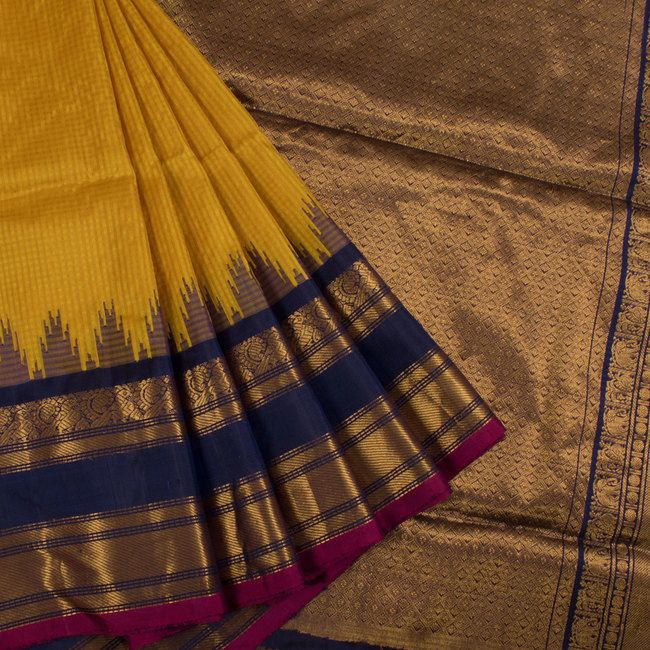 Buy online Handwoven Yellow Gadwal Kuttu Silk Saree With Checks, Temple, Hamsa Border, Elephant, Paisley Pallu 10014193