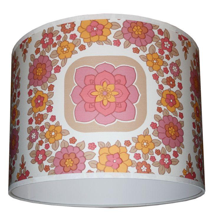 Geometric wallpaper lampshade in pink