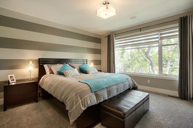 Fancy Bedrooms With Striped Accent Walls
