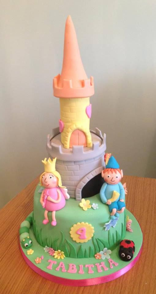 Ben & Holly's Little Kingdom themed 2 tier birthday cake with sweetie filled tower.