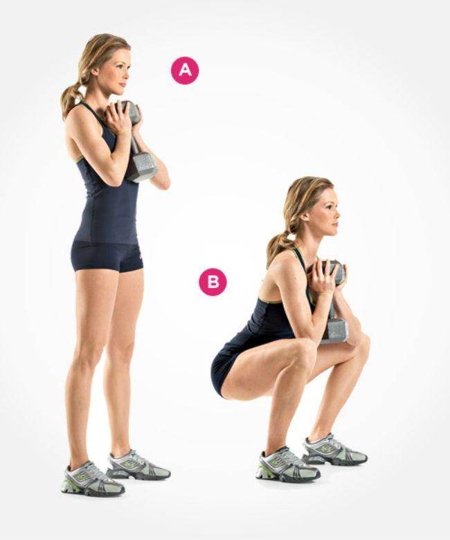Seksi ve şekilli bir vücudun anahtarı konumundaki squat hareketlerini, antrenman rutinine mutlaka dahil etmelisin. 1-Body-Weight Squat İlk olarak, vücut ağırlığını kullanarak yapabileceğin temel squat hareketi ile başlıyoruz. Ayakların omuz genişliğinde açılı olacak şekilde, olabildiğince dik dur (A). Vücudunu aşağıya eğ, dizlerini kır, kalça ve baldırlarını zorla (B). Çömelmiş şekilde bekle, yavaşça doğrularak başlangıç pozisyonuna dön.…