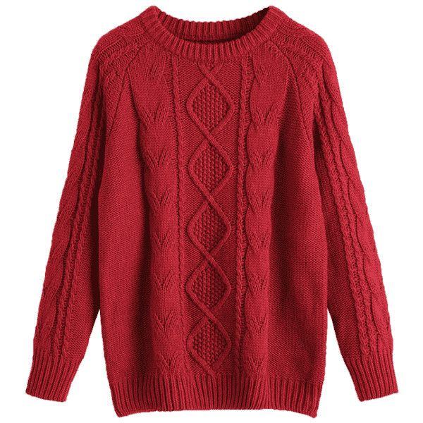 Crew Neck Plain Cable Knit Sweater Deep Red ($30) ❤ liked on Polyvore featuring tops, sweaters, zaful, cable crewneck sweater, red sweater, red crew neck sweater, cable-knit sweater and crewneck sweaters