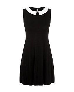 Teens Black Collared Swing Dress    New Look