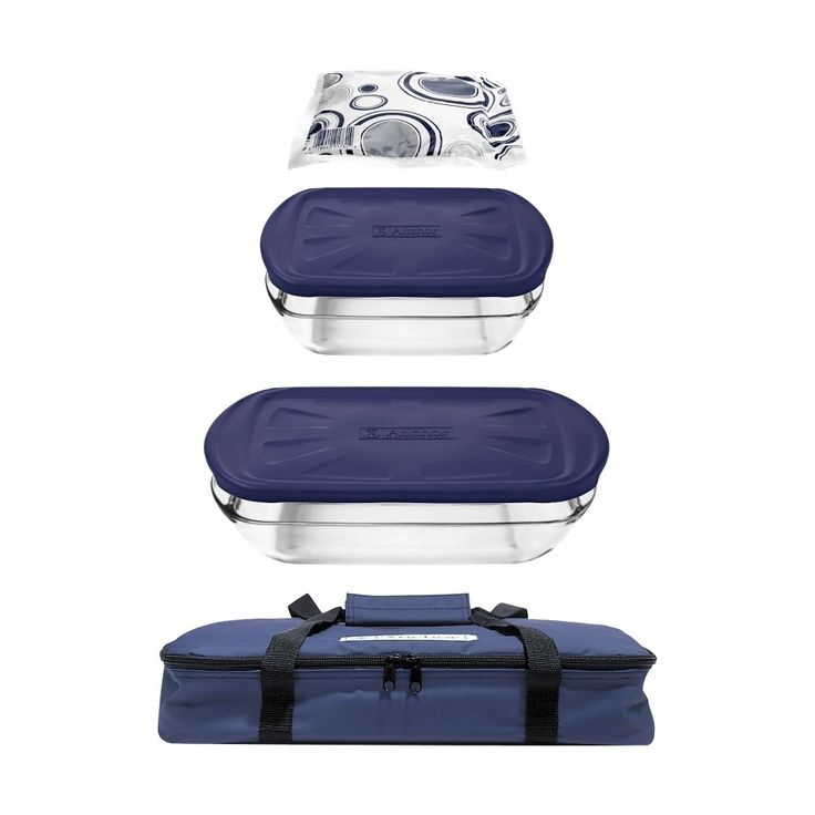Anchor Hocking - 6-Piece Essentials Bake and Take Set - Clear/Blue