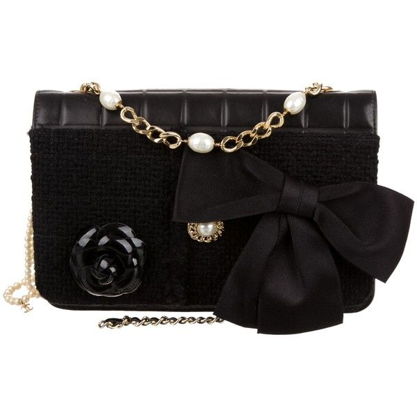 Pre-owned Chanel Bijoux Tweed Flap Bag (7,500 SAR) ❤ liked on Polyvore featuring bags, handbags, shoulder bags, black, chanel, chain shoulder bag, handbags shoulder bags, chanel shoulder bag and square purse