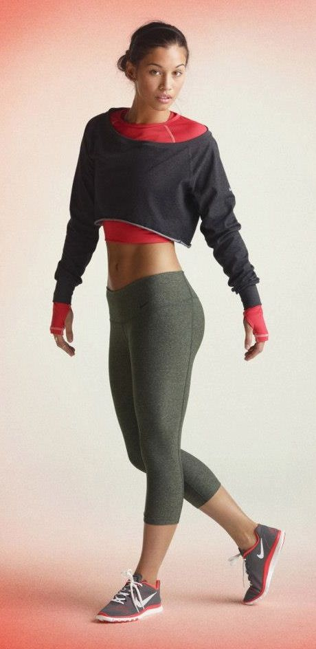 Whether dance, pilates, or yoga is your go-to workout, you're game ready with Nike Legend Tight Capri and the Nike Pro Hyperwarm Crew. #style #outfit #nike