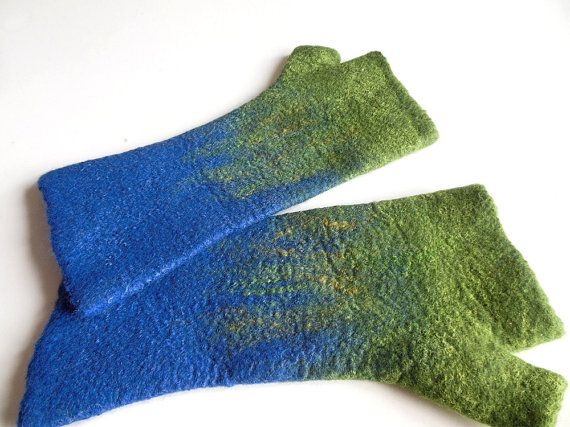 Felted mittens Hand felted fingerless mittens felted by Dagneart