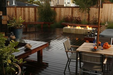 wood decks | Wood Deck Flooring with Built In Wooden Seating and Square Gas Fire ...