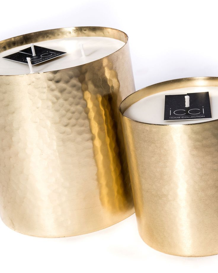 Geurkaars gehamerd metaal goud – MONDAYS
