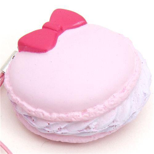 pink macaroon squishy charm with ribbon