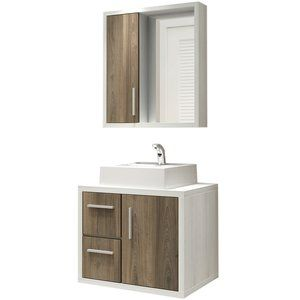 Gabinete para Banheiro com Espelheira Balcony Eros 60 Cuba Quadrada (Não acompanha torneira) Artico/Merlot