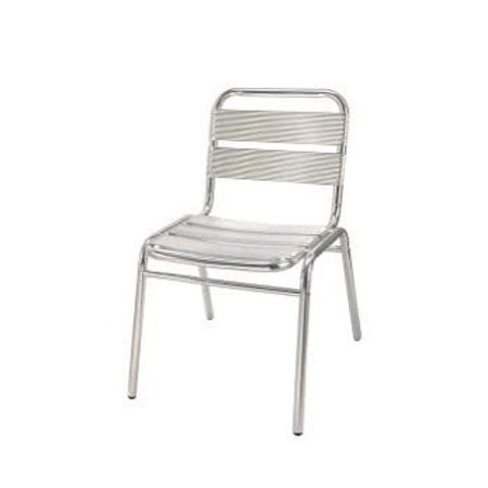 Silla Lumin $11.000 + IVA  Silla con asiento y respaldo de aluminio.  Ancho: 44 cm Largo: 59 cm Altura: 76 cm Altura asiento: 41 cm Material: Aluminio  Código Producto: ASC-014