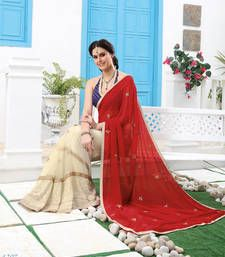 Fancy georgette embroidery saree with semi stiched work blouse