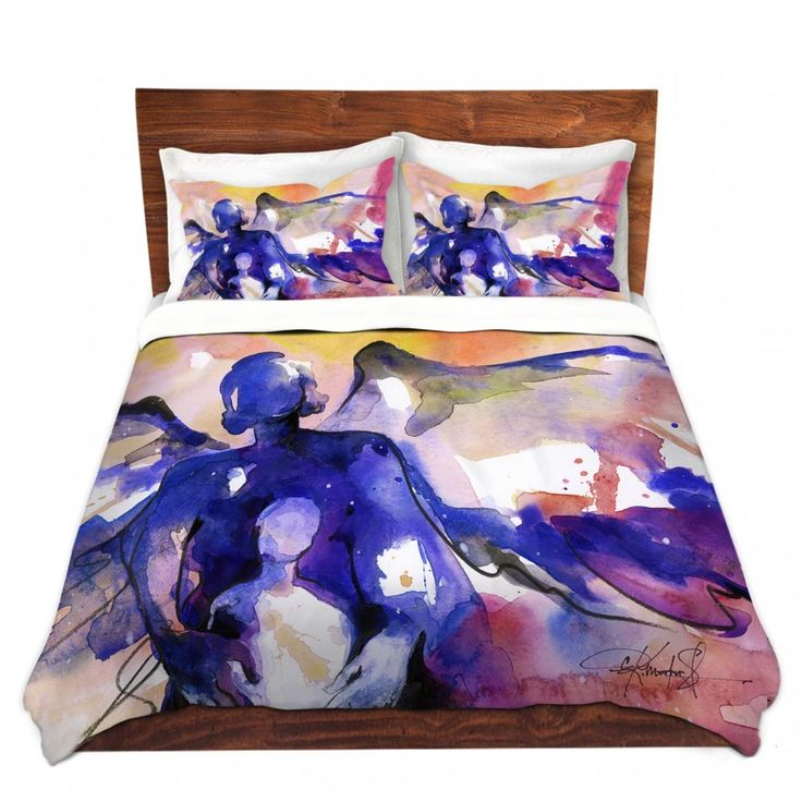Duvet Covers and Shams | Angel Mother Child Abstract Religion | Blue White Black Mauve Purple | Kathy Stanion Mother and Child  #fineart #throwblanket #blanket #duvetcover #duvet #abstract #art #showercurtain #curtains #pillows #throwpillow #cushion #dogbed #petbed #ottoman #tech #accessories #kathymortonstanion